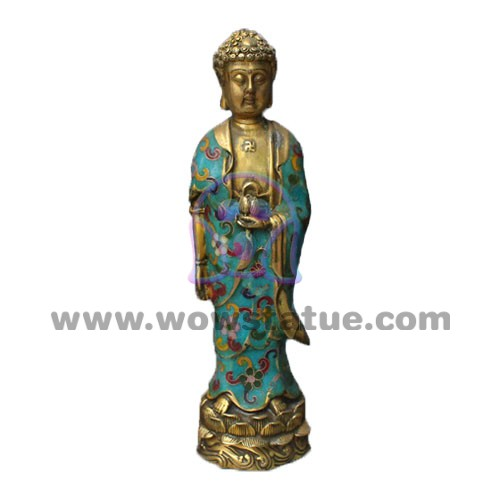 Antique Table Decor Buddha Statue Collectable Religious: Imperial Small Bronze Cloisonne Enamel Standing Amitabha